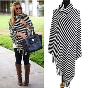 Sweaters - Beautiful black and white stripe poncho